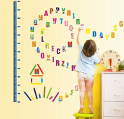 Wallpark Cartoon Animals English Letters Height Sticker, Growth Height Chart Measuring Removable Wall Decal, Children Kids Baby Home Room Nursery DIY Decorative Adhesive Art Wall Mural