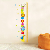 Wallpark Cartoon Animals Monkey Lion Giraffe Playing Pyramid to Catch Stars Height Sticker, Growth Height Chart Measuring Removable Wall Decal, Children Kids Baby Home Room Nursery DIY Decorative Adhesive Art Wall Mural