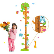 Wallpark Colourful Cartoon Cute Animals Playing on the Tree Height Sticker, Growth Height Chart Measuring Removable Wall Decal, Children Kids Baby Home Room Nursery DIY Decorative Adhesive Art Wall Mural