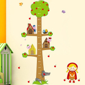 Wallpark Cute Girl Wolf Tree House Apple Tree Height Sticker, Growth Height Chart Measuring Removable Wall Decal, Children Kids Baby Home Room Nursery DIY Decorative Adhesive Art Wall Mural