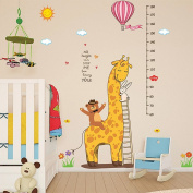 Wallpark Cartoon Cute Bear Rabbit Giraffe Height Sticker, Growth Height Chart Measuring Removable Wall Decal, Children Kids Baby Home Room Nursery DIY Decorative Adhesive Art Wall Mural