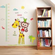 Wallpark Cute Little Monkey Giraffe Height Sticker, Growth Height Chart Measuring Removable Wall Decal, Children Kids Baby Home Room Nursery DIY Decorative Adhesive Art Wall Mural