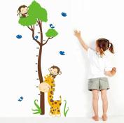 Wallpark Cartoon Cute Giraffe Birds & Monkeys Climbing Tree Height Sticker, Growth Height Chart Measuring Removable Wall Decal, Children Kids Baby Home Room Nursery DIY Decorative Adhesive Art Wall Mural