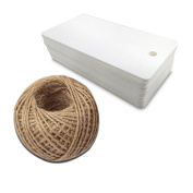 G2PLUS 100 PCS Kraft Paper Gift Tag with 30m Jute Twine String, Rectangle Christmas Gift Tags 3.5'' x 1.7''