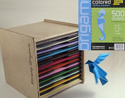 Global Art Folia 15cm by 15cm Origami Paper, 10 Colours, 500-Pack bundled with Strictly Origamic Case Box Organiser