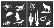 Auto Vynamics - STENCIL-DESERTSET01-20 - Detailed Desert Animals & Scenery Stencil Set - Featuring Wolves, Scorpions, Armadillos, & More! - 50cm by 50cm Sheet - (2) Piece Kit - Pair of Sheets