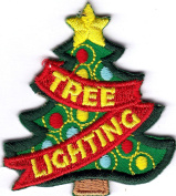 """CHRISTMAS """"TREE LIGHTING"""" - HOLIDAYS - TRADITION - IRON ON EMBROIDERED PATCH"""
