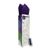 Adult Colouring Peacock Wine Bottle Gift Bag + Coloured Pencils and Tissue Paper