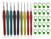 MDW 9 Pack Aluminium Crochet Hooks Needles with Silicon Cushion Handle & 20 Pcs Plastic Locking Stitch Markers