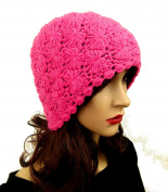 Soft Alpaca Beanie Crochet Handmade Women's Hot Pink Hat