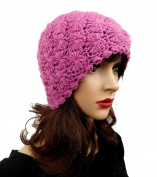 Soft Alpaca Beanie Crochet Handmade Women's Pink Hat