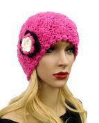 Pink Beanie Alpaca Crochet Handmade Women's Flower Hat