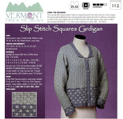 Slip Stitch Squares Cardigan - Vermont Fibre Designs Knitting Pattern 112 XS-5X