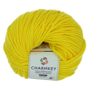 Charmkey Simply Soft Boutique Baby Cotton Yarn 4 Ply Mediem Solid Colours Knitting Acrylic Worsted Yarn for Scarf Blanket Sweater, 1 Skein, 45ml
