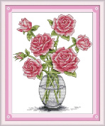 CaptainCrafts New Cross Stitch Kits Patterns Embroidery Kit - Pink Roses In Vase