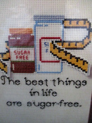 Paper Cross Stitching ... The best things in life are sugar-free ... Sugar Free ... 13cm x 18cm