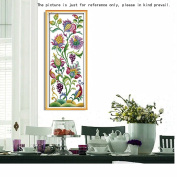 Anself Cross Stitch Set Flowers Pattern DIY Embroidery Kit for Home Decor 21 X 50cm