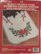 "Stamped Cross Stitch Quick'n Colourful ""Holly"" Scarf with Preprinted Details"