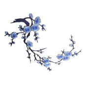 ULTNICE Plum Blossom Flower Applique Clothing Embroidery Patch Fabric Sticker for Clothes Craft Wall Decoration Blue