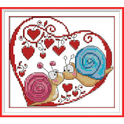 Anself Cross Stitch Set Snail Couples Pattern DIY Embroidery Kit for Home Decor 20X 18cm