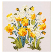Egoshop Silk Ribbon Embroidery Kit Yellow Flower Painting DIY Wall Decor Stamp Silk Ribbon Embroidery Kit With English Instruction