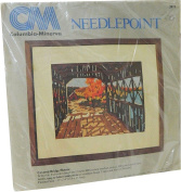 Columbia Minerva Needlepoint Kit Covered Bridge Picture New England Autumn 2073