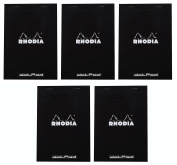 Pack of 5 Rhodia Top Staplebound Black Notepads dot - 20cm - 0.6cm . x 28cm - 1.9cm .