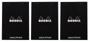 Pack of 3 Rhodia Top Staplebound Black Notepads dot - 20cm - 0.6cm . x 28cm - 1.9cm .
