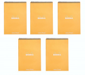 Pack of 5 Rhodia Wirebound Orange Notepads dot - 15cm . x 20cm - 0.6cm .
