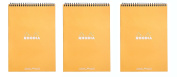 Pack of 3 Rhodia Wirebound Orange Notepads dot - 15cm . x 20cm - 0.6cm .