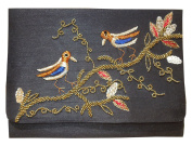 Spice Art Black Sparrow Motif Embroidered Silk Clutch