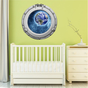 90cm Porthole Outer Space Ship Window View PLANET EARTH #1 CHROME Wall Sticker Kids Decal Baby Room Home Art Décor Den Mural Man Cave Graphic LARGE