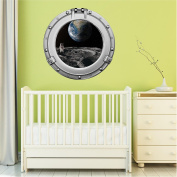 90cm Porthole Outer Space Ship Window View ASTRONAUT ON MOON #1 CHROME Wall Sticker Kids Decal Baby Room Home Art Décor Den Mural Man Cave Graphic LARGE