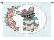 Ambesonne Kids Room Decor Collection, Vintage Home Decor Dog Puppy Illustration Retro Art Design Floral Lace Heart and Flowers, Window Treatments for Kids Bedroom Curtain 2 Panels Set, 270cm X 160cm