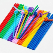Alytimes 500 Pack Extra Long Disposable Bendable Plastic Drinking Straws, Assorted Colour