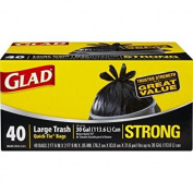 Glad Strong Quick-Tie Large Trash Bags, 113.6l, 40 Count