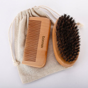 Boar Bristle Beard Brush & Comb Beard kit for Men-Military-Style Boar Bristle Brush and Handmade Wooden Comb for Hair & Grooming for Softer, Healthier and More Lustrous Beards