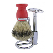 3 Piece Shaving Set with Butterfly Top Safety Razor and Red Brush