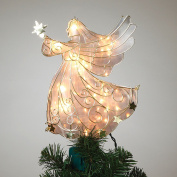 28cm Tall Stained Glass Look Gold Metal Lighted Angel Tree Topper