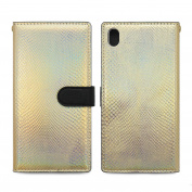Sony Xperia Z5, HANSMARE [Calf Flip Hologram][Gold] Leather Premium Wallet Case- fit by Credit Card Case for Xperia Z5 -Gold Hologram
