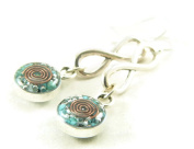 Orgone Energy Infinity Dangle Earrings-Turquoise in Antiqued Silver Finish
