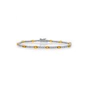 2.00 Carat Diamonds And 2.75 Carat Yellow Sapphire Four Prong Tennis Bracelet 18K Two Tone Gold