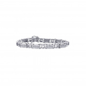 6.00 Carat Diamond Fancy Shaped Link 14K White Gold Bracelet