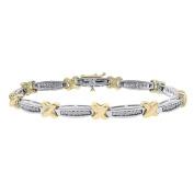 1.00 Carat Diamond X-Shaped Link 14K Two Tone Gold Bracelet