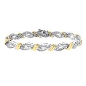 1.00 Carat Diamond Fancy Link 14K Yellow Gold Bracelet