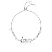 Sterling Silver Adjustable Love Bracelet with Beads, for Women and Girls, Expandabl 23cm