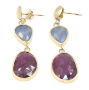 Sapphire Blue & Red Hanging Earrings,14K Yellow Gold Post & Push Backs