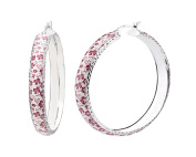 G & H Sterling Silver and Enamel 46mm Click-Top Hoop Earrings with Red Floral Print and Diamond Cut Designs