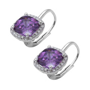 Halo Hoop Latch Back Earring Cushion Cut Simulated Purple Amethyst Round CZ 925 Sterling Silver