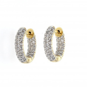 Diamond Hoop, 14kt Yellow gold Diamond Pave Hoop